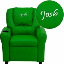 Facilities Recliners All Recliners - Dg-ult-kid-grn-emb-gg - Personalized Green Vinyl Kids Recliner With Cup Holder And Headrest DG-ULT-KID-GRN-EMB-GG