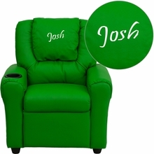 Personalized Green Vinyl Kids Recliner With Cup Holder And Headrest - Dg-ult-kid-grn-txtemb-gg - Facilities Recliners All Recliners DG-ULT-KID-GRN-TXTEMB-GG