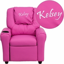 Personalized Hot Pink Vinyl Kids Recliner With Cup Holder And Headrest - Dg-ult-kid-hot-pink-txtemb-gg - Facilities Recliners All Recliners DG-ULT-KID-HOT-PINK-TXTEMB-GG