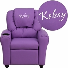 Facilities Recliners All Recliners - Dg-ult-kid-lav-emb-gg - Personalized Lavender Vinyl Kids Recliner With Cup Holder And Headrest DG-ULT-KID-LAV-EMB-GG