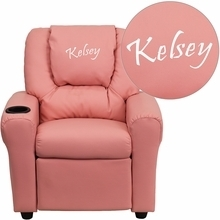 Facilities Recliners All Recliners - Dg-ult-kid-pink-emb-gg - Personalized Pink Vinyl Kids Recliner With Cup Holder And Headrest DG-ULT-KID-PINK-EMB-GG