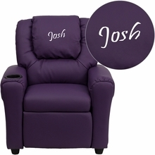 Facilities Recliners All Recliners - Dg-ult-kid-pur-emb-gg - Personalized Purple Vinyl Kids Recliner With Cup Holder And Headrest DG-ULT-KID-PUR-EMB-GG