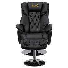 Personalized Transitional Black Leather Recliner And Ottoman With Chrome Base - Bt-7807-trad-txtemb-gg - Recliners; Arm BT-7807-TRAD-TXTEMB-GG