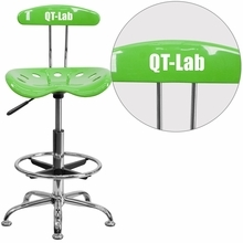 Personalized Vibrant Apple Green And Chrome Drafting Stool With Tractor Seat - Lf-215-applegreen-emb-vyl-gg - Office Chairs LF-215-APPLEGREEN-EMB-VYL-GG