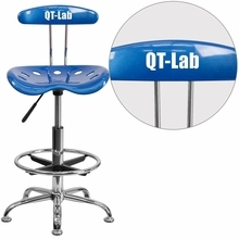 Personalized Vibrant Bright Blue And Chrome Drafting Stool With Tractor Seat - Lf-215-brightblue-emb-vyl-gg - Office Chairs LF-215-BRIGHTBLUE-EMB-VYL-GG