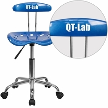 Personalized Vibrant Bright Blue And Chrome Swivel Task Chair With Tractor Seat - Lf-214-brightblue-emb-vyl-gg - Office Chairs LF-214-BRIGHTBLUE-EMB-VYL-GG