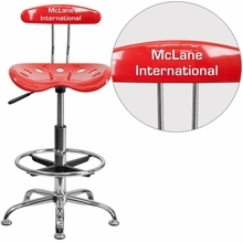 Personalized Vibrant Cherry Tomato And Chrome Drafting Stool With Tractor Seat - Lf-215-cherrytomato-emb-vyl-gg - Office Chairs LF-215-CHERRYTOMATO-EMB-VYL-GG