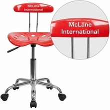 Personalized Vibrant Cherry Tomato And Chrome Swivel Task Chair With Tractor Seat - Lf-214-cherrytomato-emb-vyl-gg - Office Chairs LF-214-CHERRYTOMATO-EMB-VYL-GG
