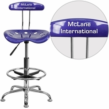 Personalized Vibrant Deep Blue And Chrome Drafting Stool With Tractor Seat - Lf-215-deepblue-emb-vyl-gg - Office Chairs LF-215-DEEPBLUE-EMB-VYL-GG