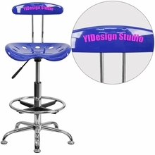 Personalized Vibrant Nautical Blue And Chrome Drafting Stool With Tractor Seat - Lf-215-nauticalblue-emb-vyl-gg - Office Chairs LF-215-NAUTICALBLUE-EMB-VYL-GG