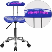 Personalized Vibrant Nautical Blue And Chrome Swivel Task Chair With Tractor Seat - Lf-214-nauticalblue-emb-vyl-gg - Office Chairs LF-214-NAUTICALBLUE-EMB-VYL-GG