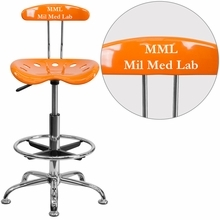Personalized Vibrant Orange And Chrome Drafting Stool With Tractor Seat - Lf-215-orangeyellow-emb-vyl-gg - Office Chairs LF-215-ORANGEYELLOW-EMB-VYL-GG