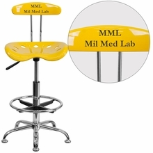 Personalized Vibrant Orange-yellow And Chrome Drafting Stool With Tractor Seat - Lf-215-yellow-emb-vyl-gg - Office Chairs LF-215-YELLOW-EMB-VYL-GG