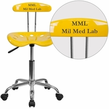 Personalized Vibrant Orange-yellow And Chrome Swivel Task Chair With Tractor Seat - Lf-214-yellow-emb-vyl-gg - Office Chairs LF-214-YELLOW-EMB-VYL-GG