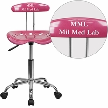 Personalized Vibrant Pink And Chrome Swivel Task Chair With Tractor Seat - Lf-214-pink-emb-vyl-gg - Office Chairs LF-214-PINK-EMB-VYL-GG