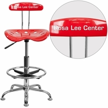 Personalized Vibrant Red And Chrome Drafting Stool With Tractor Seat - Lf-215-red-emb-vyl-gg - Office Chairs LF-215-RED-EMB-VYL-GG