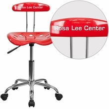 Personalized Vibrant Red And Chrome Swivel Task Chair With Tractor Seat - Lf-214-red-emb-vyl-gg - Office Chairs LF-214-RED-EMB-VYL-GG