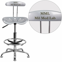 Personalized Vibrant Silver And Chrome Drafting Stool With Tractor Seat - Lf-215-silver-emb-vyl-gg - Office Chairs LF-215-SILVER-EMB-VYL-GG