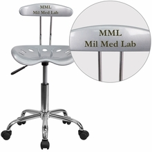 Personalized Vibrant Silver And Chrome Swivel Task Chair With Tractor Seat - Lf-214-silver-emb-vyl-gg - Office Chairs LF-214-SILVER-EMB-VYL-GG