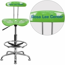 Personalized Vibrant Spicy Lime And Chrome Drafting Stool With Tractor Seat - Lf-215-spicylime-emb-vyl-gg - Office Chairs LF-215-SPICYLIME-EMB-VYL-GG