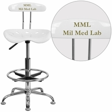 Personalized Vibrant White And Chrome Drafting Stool With Tractor Seat - Lf-215-white-emb-vyl-gg - Office Chairs LF-215-WHITE-EMB-VYL-GG