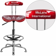 Personalized Vibrant Wine Red And Chrome Drafting Stool With Tractor Seat - Lf-215-winered-emb-vyl-gg - Office Chairs LF-215-WINERED-EMB-VYL-GG