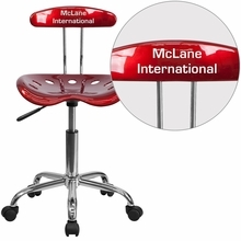 Personalized Vibrant Wine Red And Chrome Swivel Task Chair With Tractor Seat - Lf-214-winered-emb-vyl-gg - Office Chairs LF-214-WINERED-EMB-VYL-GG