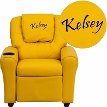 Facilities Recliners All Recliners - Dg-ult-kid-yel-emb-gg - Personalized Yellow Vinyl Kids Recliner With Cup Holder And Headrest DG-ULT-KID-YEL-EMB-GG