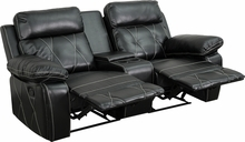 Flash Furniture BT-70530-2-BK-GG Reel Comfort Series 2-Seat Reclining Black Leather Theater Seating Unit with Straight Cup Holders