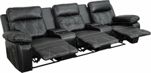 Flash Furniture 3 Seat Leather Reclining Home Theater Seating in Black BT-70530-3-BK-GG