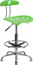 Vibrant Apple Green and Chrome Drafting Stool with Tractor Seat LF-215-APPLEGREEN-GG by Flash Furniture