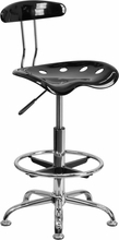 Vibrant Black and Chrome Drafting Stool with Tractor Seat LF-215-BLK-GG by Flash Furniture