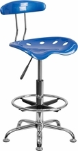 Vibrant Bright Blue and Chrome Drafting Stool with Tractor Seat LF-215-BRIGHTBLUE-GG by Flash Furniture