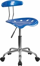 Vibrant Bright Blue and Chrome Computer Task Chair with Tractor Seat LF-214-BRIGHTBLUE-GG by Flash Furniture
