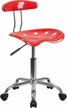 Flash Furniture LF-214-CHERRYTOMATO-GG Vibrant Cherry Tomato and Chrome Computer Task Chair with Tractor Seat