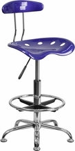 Vibrant Deep Blue and Chrome Drafting Stool with Tractor Seat LF-215-DEEPBLUE-GG by Flash Furniture