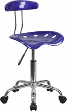 Vibrant Deep Blue and Chrome Computer Task Chair with Tractor Seat LF-214-DEEPBLUE-GG by Flash Furniture