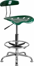 Vibrant Green and Chrome Drafting Stool with Tractor Seat LF-215-GREEN-GG by Flash Furniture