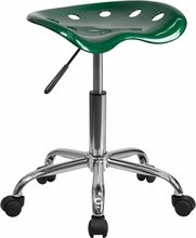 Vibrant Green Tractor Seat and Chrome Stool LF-214A-GREEN-GG by Flash Furniture