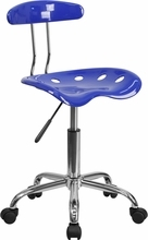 Flash Furniture LF-214-NAUTICALBLUE-GG Vibrant Nautical Blue and Chrome Computer Task Chair with Tractor Seat