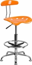 Vibrant Orange and Chrome Drafting Stool with Tractor Seat LF-215-ORANGEYELLOW-GG by Flash Furniture