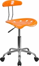 Vibrant Orange and Chrome Computer Task Chair with Tractor Seat LF-214-ORANGEYELLOW-GG by Flash Furniture