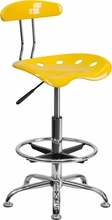 Vibrant Orange-Yellow and Chrome Drafting Stool with Tractor Seat LF-215-YELLOW-GG by Flash Furniture