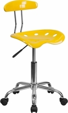Vibrant Orange-Yellow and Chrome Computer Task Chair with Tractor Seat LF-214-YELLOW-GG by Flash Furniture