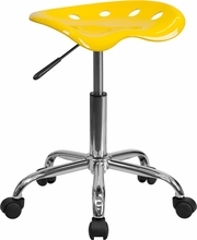 Vibrant Orange-Yellow Tractor Seat and Chrome Stool LF-214A-YELLOW-GG by Flash Furniture