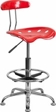 Vibrant Red and Chrome Drafting Stool with Tractor Seat LF-215-RED-GG by Flash Furniture