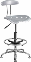 Vibrant Silver and Chrome Drafting Stool with Tractor Seat LF-215-SILVER-GG by Flash Furniture