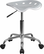 Vibrant Silver Tractor Seat and Chrome Stool LF-214A-SILVER-GG by Flash Furniture