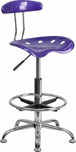 Vibrant Violet and Chrome Drafting Stool with Tractor Seat LF-215-VIOLET-GG by Flash Furniture