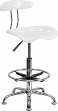 Vibrant White and Chrome Drafting Stool with Tractor Seat LF-215-WHITE-GG by Flash Furniture